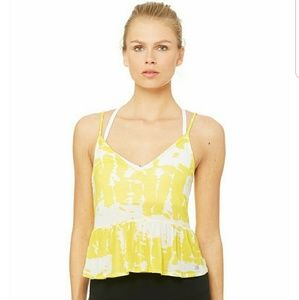 Alo Yoga Yellow & White Tank Top